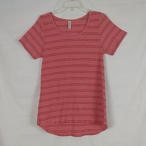 LuLaRoe Simply Comfortable Striped Pink Top Size M